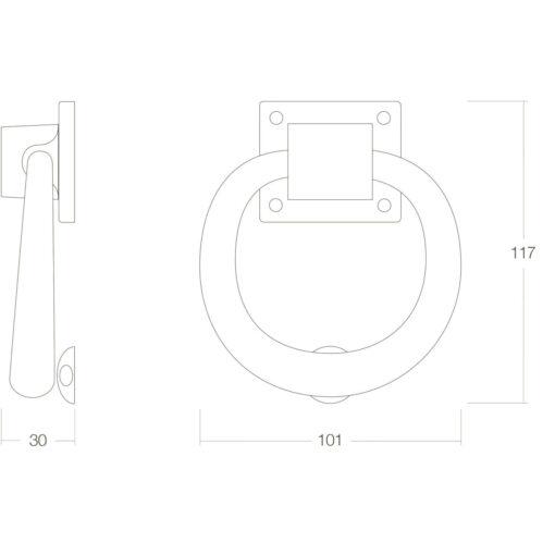 Intersteel Deurklopper rond 107 mm oud grijs - Technische tekening