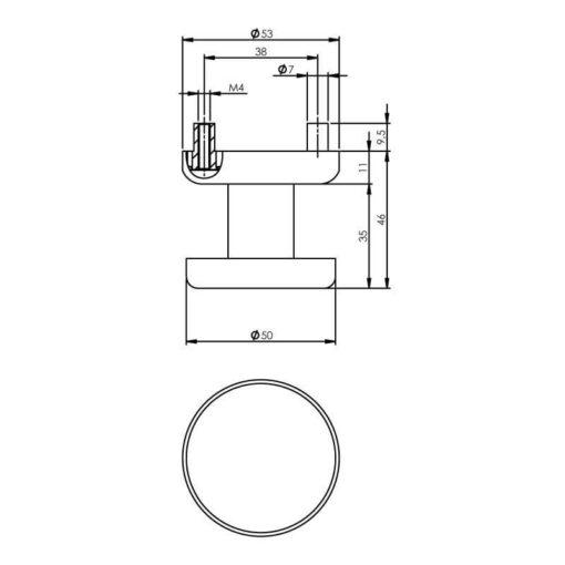 Intersteel Deurknop Nobile plat vast op rozet INOX geborsteld - Technische tekening