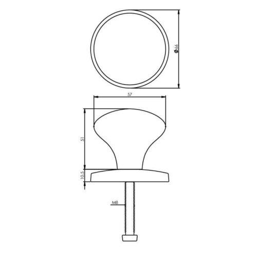 Intersteel Deurknop Paddenstoel 57 mm chroom - Technische tekening