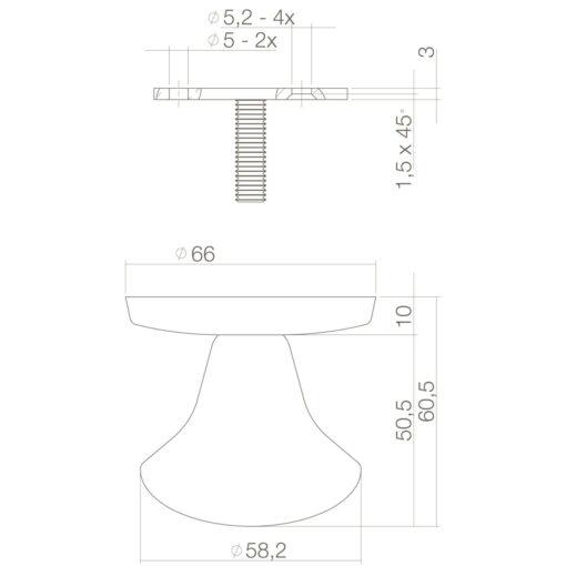 Intersteel Deurknop Paddenstoel Koper ongelakt - Technische tekening