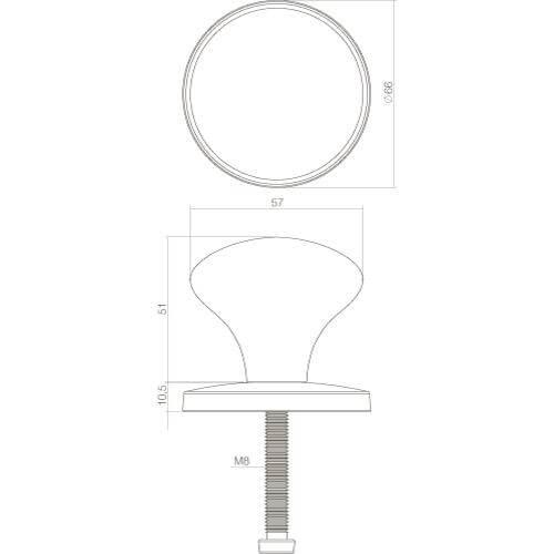 Intersteel Deurknop Paddenstoel chroom mat - Technische tekening
