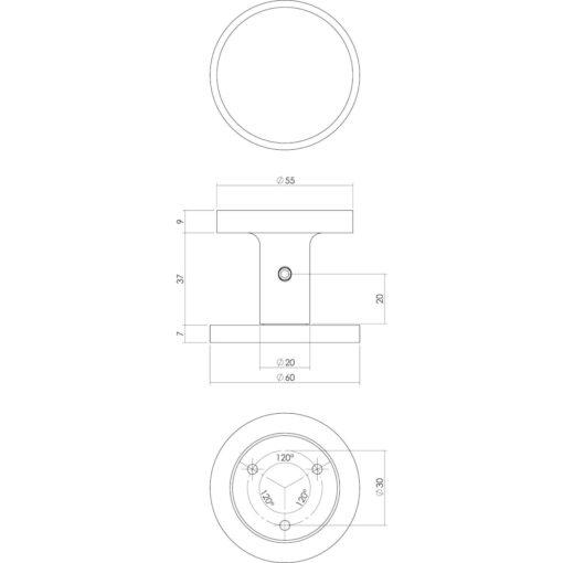 Intersteel Deurknop Rond diameter 55 mm eenzijdige montage aluminium - Technische tekening
