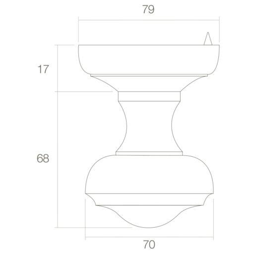 Intersteel Deurknop Venere Koper gelakt - Technische tekening