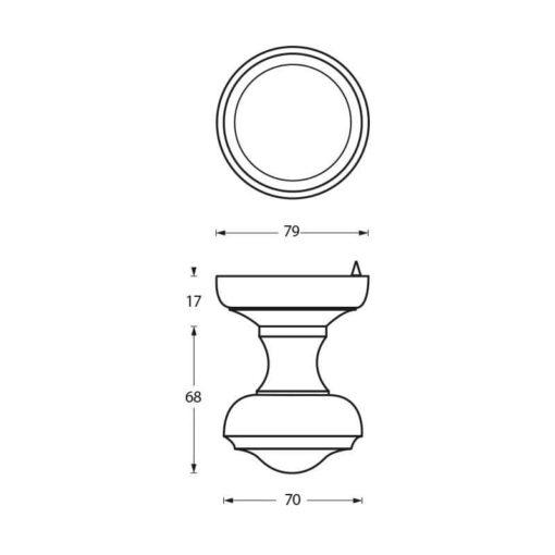 Intersteel Deurknop Venere chroom mat - Technische tekening
