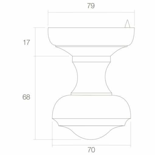 Intersteel Deurknop Venere rond Koper ongelakt - Technische tekening