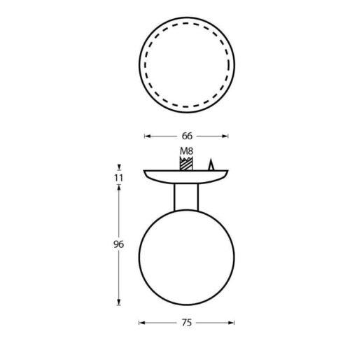 Intersteel Deurknop bol diameter 75 mm INOX geborsteld - Technische tekening