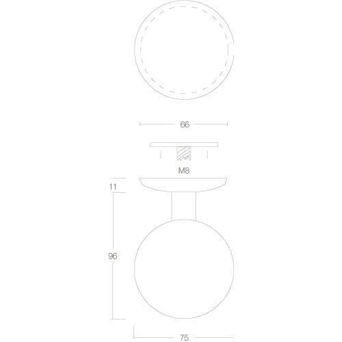 Intersteel Deurknop bol diameter 75 mm eenzijdige montage INOX geborsteld - Technische tekening