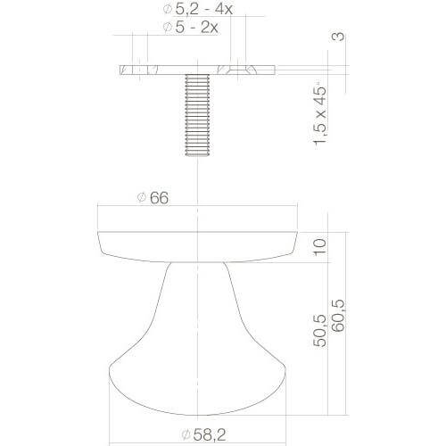 Intersteel Deurknop paddenstoel INOX geborsteld - Technische tekening