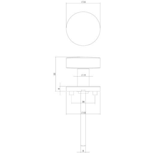 Intersteel Deurknop rond op rozet INOX geborsteld - Technische tekening