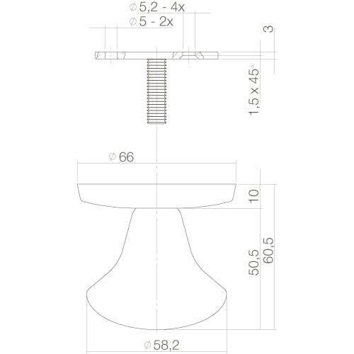 Intersteel Deurknop vast paddenstoel eenzijdige montage mat zwart - Technische tekening