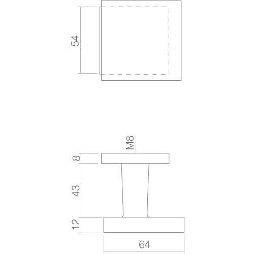 Intersteel Deurknop vast verkropt vierkant mat zwart - Technische tekening