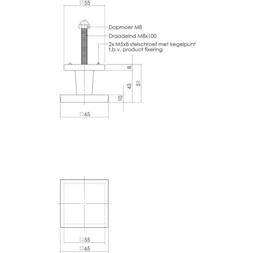 Intersteel Deurknop vierkant 65 mm chroom - Technische tekening
