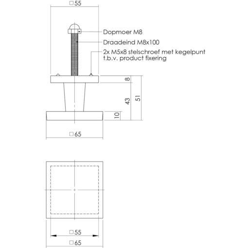 Intersteel Deurknop vierkant nikkel mat - Technische tekening