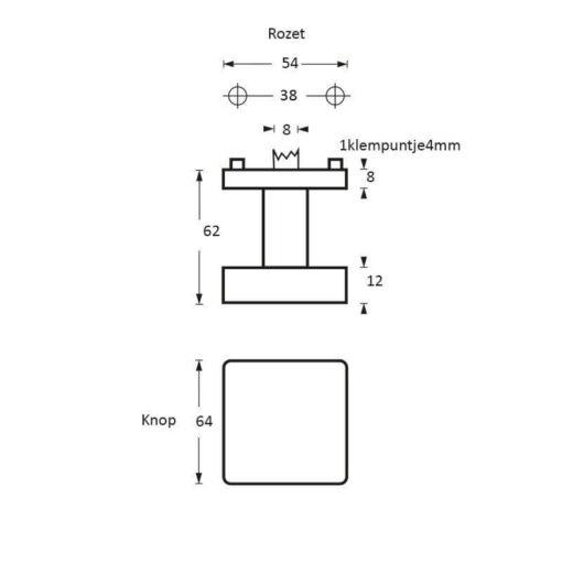 Intersteel Deurknop vierkant verkropt INOX geborsteld - Technische tekening