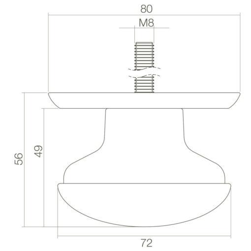 Intersteel Deurknop zwaar Koper gebruineerd - Technische tekening