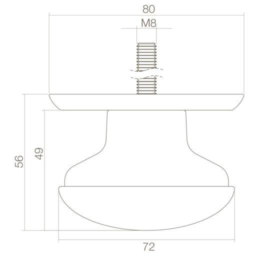 Intersteel Deurknop zwaar Koper gelakt - Technische tekening