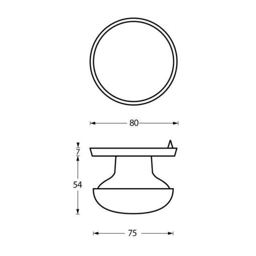 Intersteel Deurknop zwaar chroom mat - Technische tekening