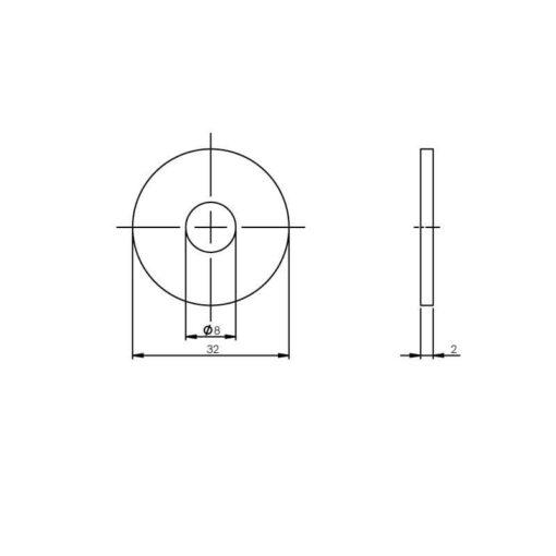 Intersteel Drukverdeelrozet voor deurgrepen diameter 32 mm INOX geborsteld - Technische tekening