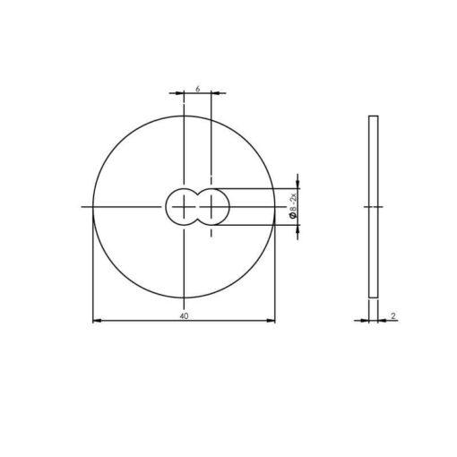 Intersteel Drukverdeelrozet voor deurgrepen diameter 40 mm INOX geborsteld - Technische tekening