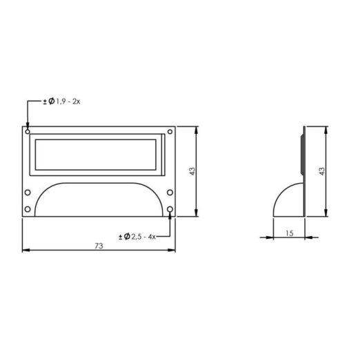Intersteel Etiketgreep 73 mm nikkel - Technische tekening