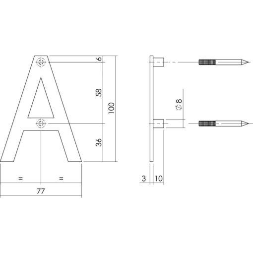 Intersteel Huisletter A 100 mm INOX geborsteld - Technische tekening
