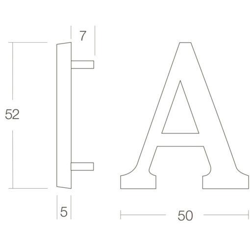 Intersteel Huisletter A Koper gebruineerd - Technische tekening