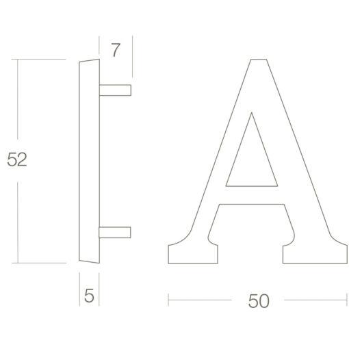 Intersteel Huisletter A Koper gelakt - Technische tekening