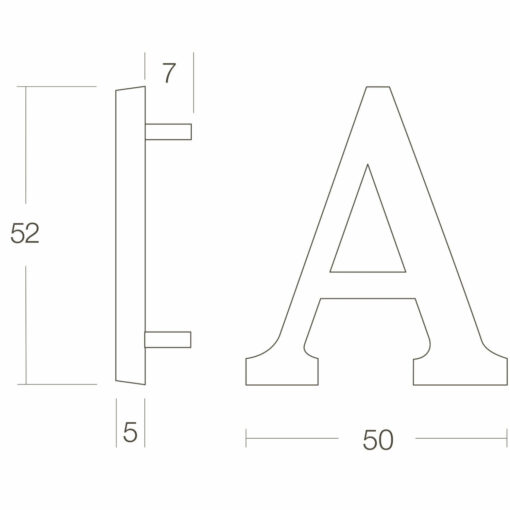 Intersteel Huisletter A chroom mat - Technische tekening