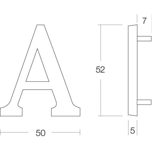 Intersteel Huisletter A nikkel mat - Technische tekening