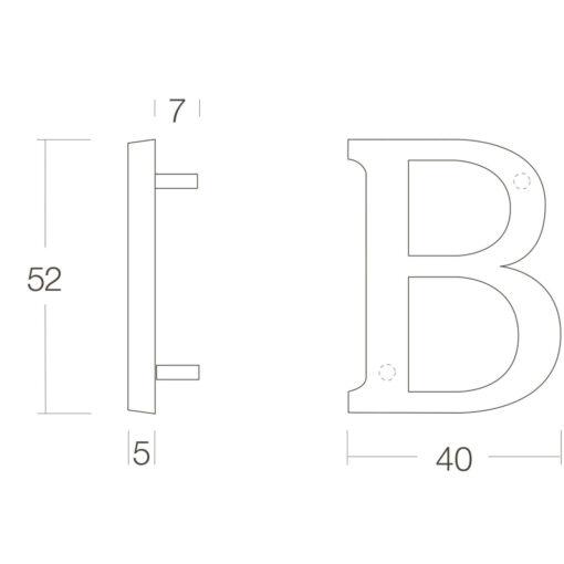 Intersteel Huisletter B Koper gebruineerd - Technische tekening