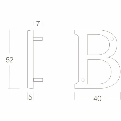 Intersteel Huisletter B Koper gelakt - Technische tekening