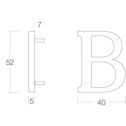 Intersteel Huisletter B Koper titaan PVD - Technische tekening
