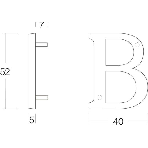 Intersteel Huisletter B nikkel mat - Technische tekening