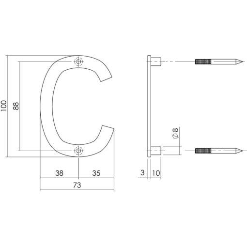 Intersteel Huisletter C 100 mm INOX geborsteld - Technische tekening