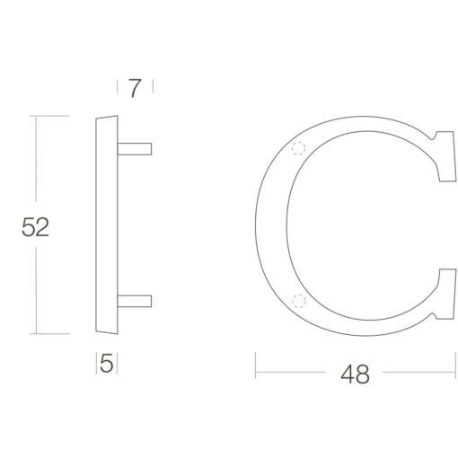 Intersteel Huisletter C Koper gebruineerd - Technische tekening