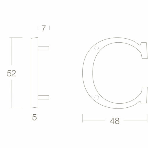 Intersteel Huisletter C Koper gelakt - Technische tekening
