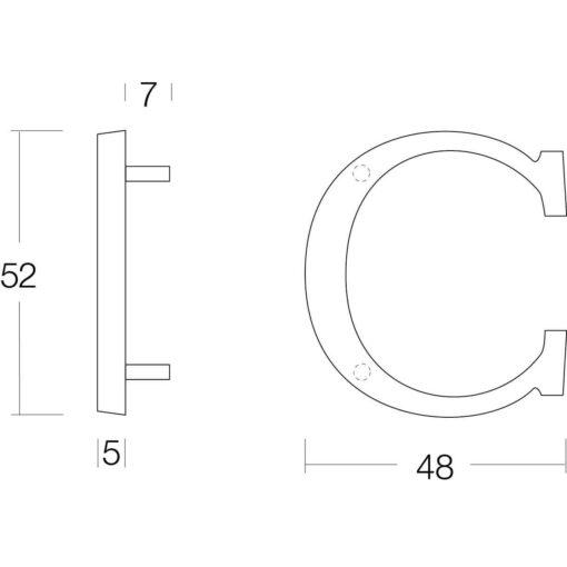 Intersteel Huisletter C nikkel mat - Technische tekening