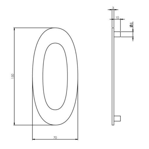 Intersteel Huisnummer 0 150 mm INOX geborsteld - Technische tekening