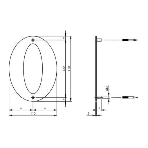 Intersteel Huisnummer 0 150x2mm INOX geborsteld - Technische tekening