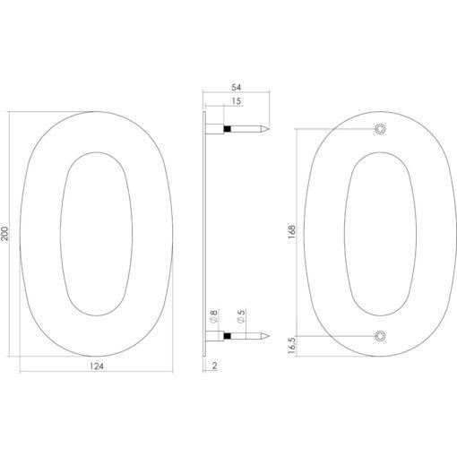 Intersteel Huisnummer 0 200 mm INOX geborsteld - Technische tekening