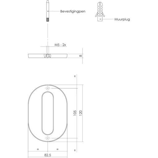 Intersteel Huisnummer 0 Koper titaan PVD - Technische tekening