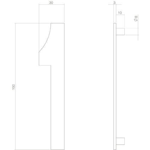 Intersteel Huisnummer 1 INOX mat zwart - Technische tekening