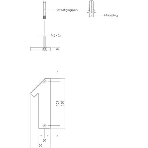 Intersteel Huisnummer 1 Koper titaan PVD - Technische tekening