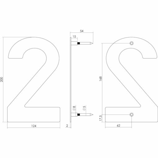 Intersteel Huisnummer 2 200 mm INOX geborsteld - Technische tekening