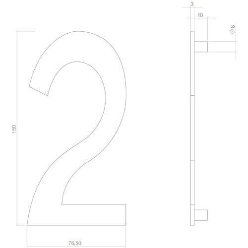 Intersteel Huisnummer 2 INOX mat zwart - Technische tekening