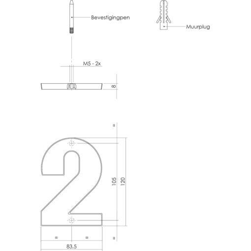 Intersteel Huisnummer 2 Koper titaan PVD - Technische tekening
