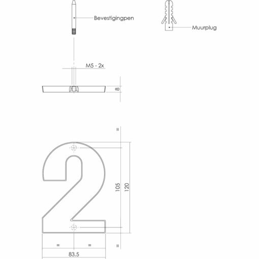 Intersteel Huisnummer 2 nikkel mat - Technische tekening