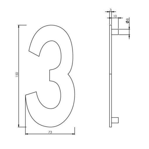 Intersteel Huisnummer 3 150 mm INOX geborsteld - Technische tekening