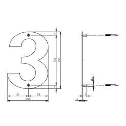 Intersteel Huisnummer 3 150x2mm INOX geborsteld - Technische tekening