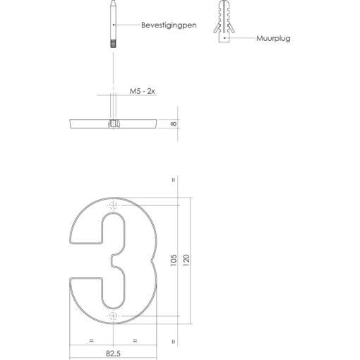 Intersteel Huisnummer 3 Koper getrommeld - Technische tekening